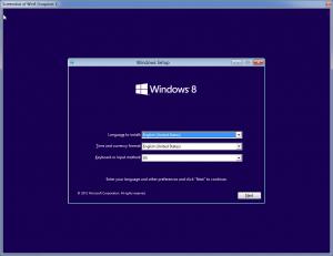 اولین صفحه برنامه نصاب ویندوز 8