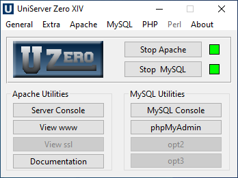 پنل کنترل UniServer Zero XIV که برای یادداشتهای روزانه از آن استفاده میکنم